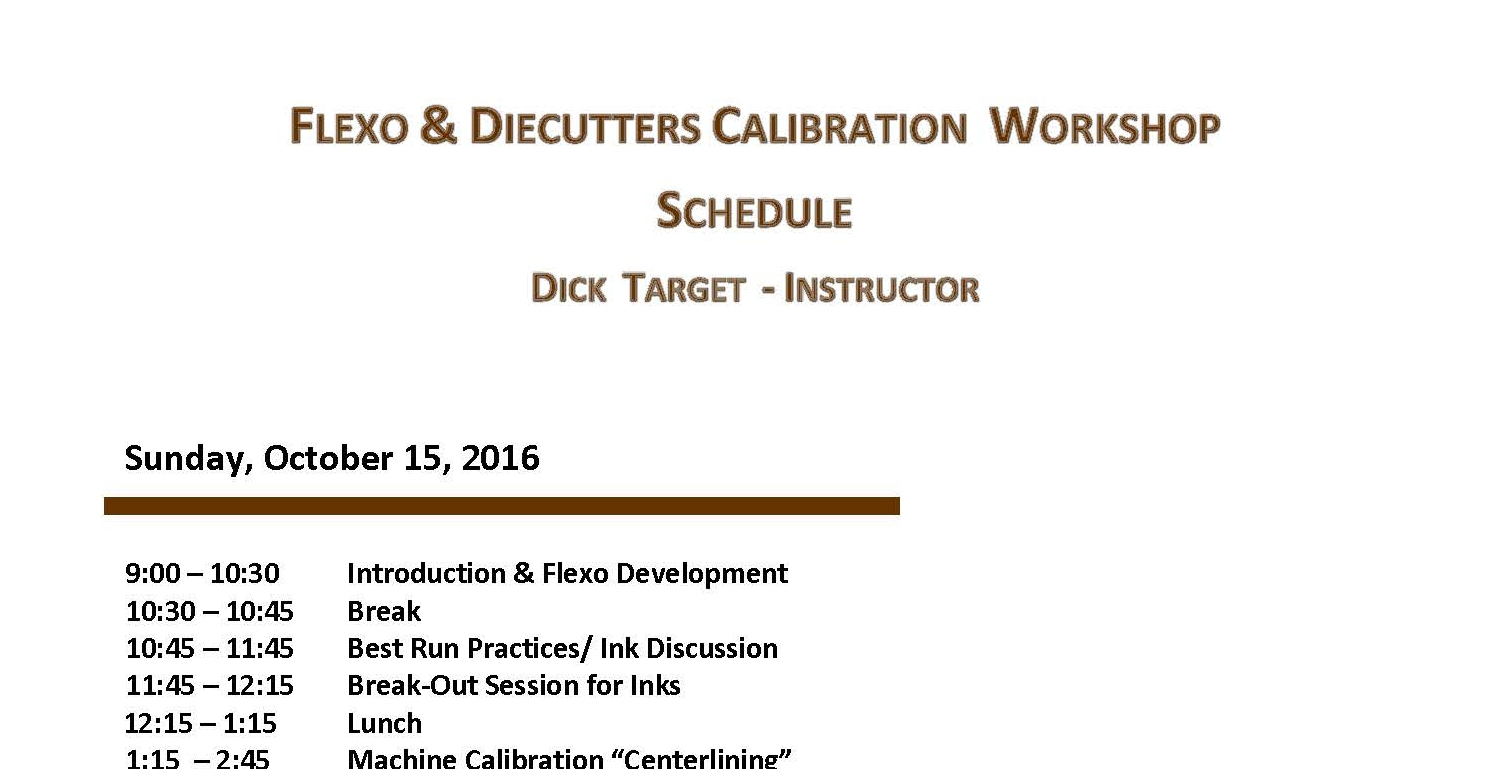 Flexo and Rotary Diecutters Schedule 2017